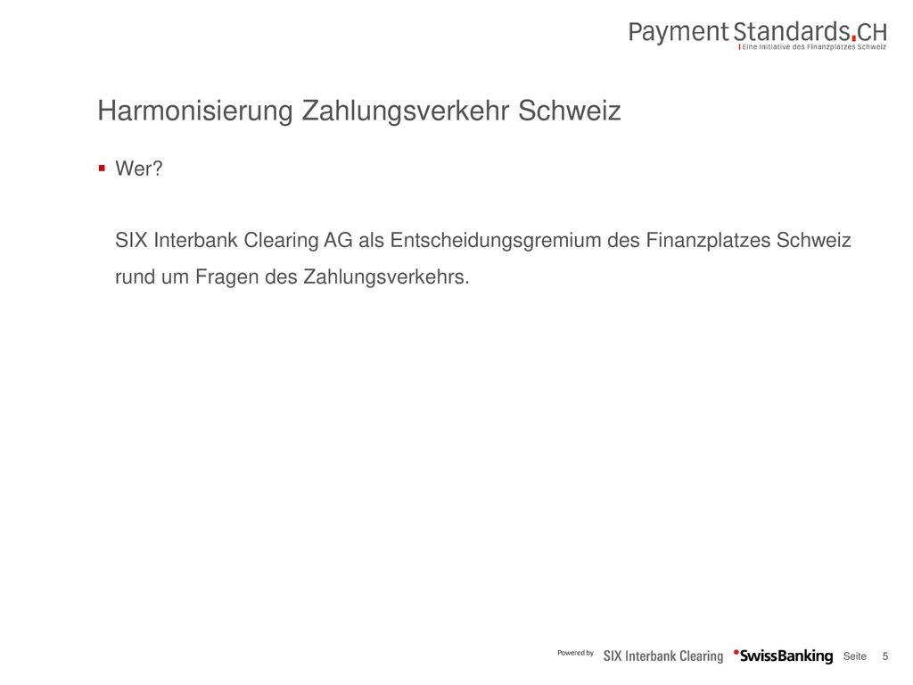 Harmonisierung Zahlungsverkehr Schweiz