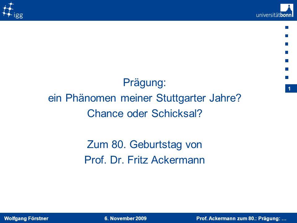ein Phänomen meiner Stuttgarter Jahre Chance oder Schicksal