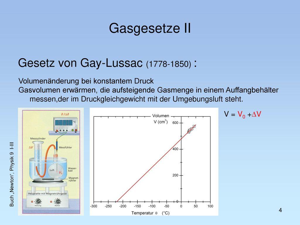 Gasgesetze II Gesetz von Gay-Lussac (1778-1850) :