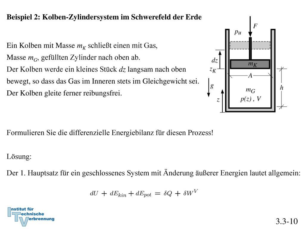3.3-10 Beispiel 2: Kolben-Zylindersystem im Schwerefeld der Erde