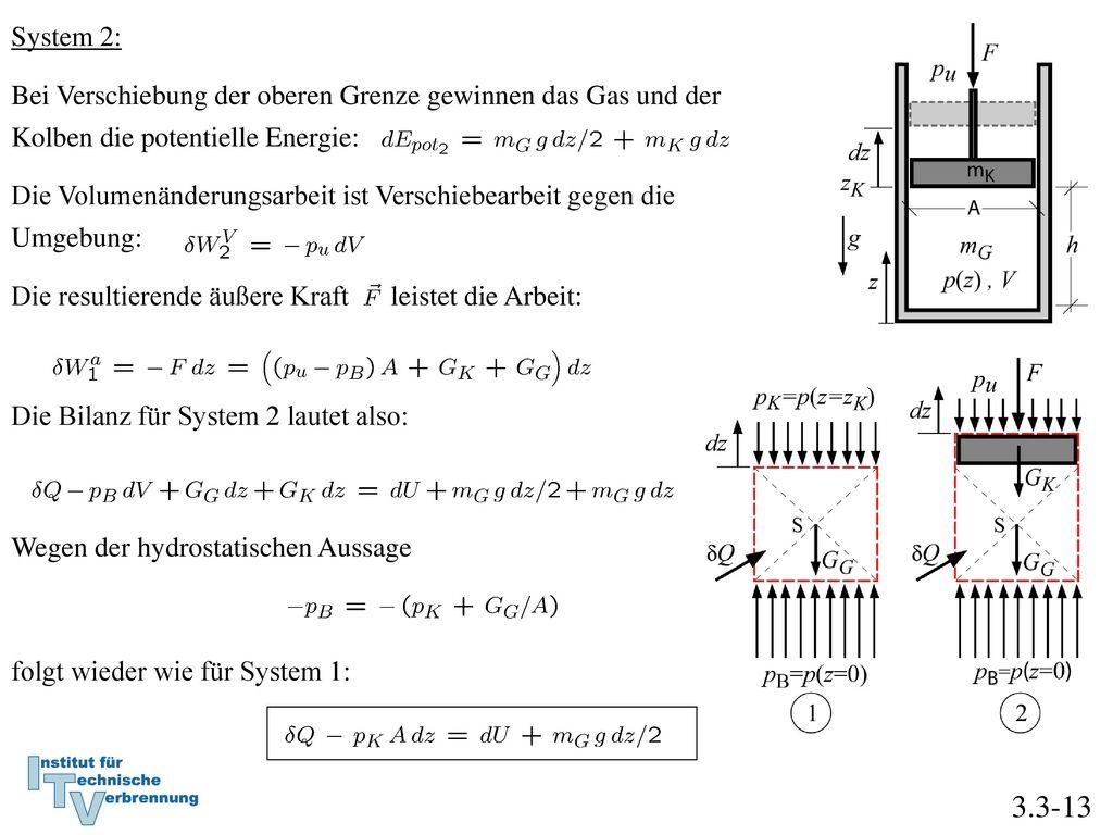 System 2: Bei Verschiebung der oberen Grenze gewinnen das Gas und der Kolben die potentielle Energie: