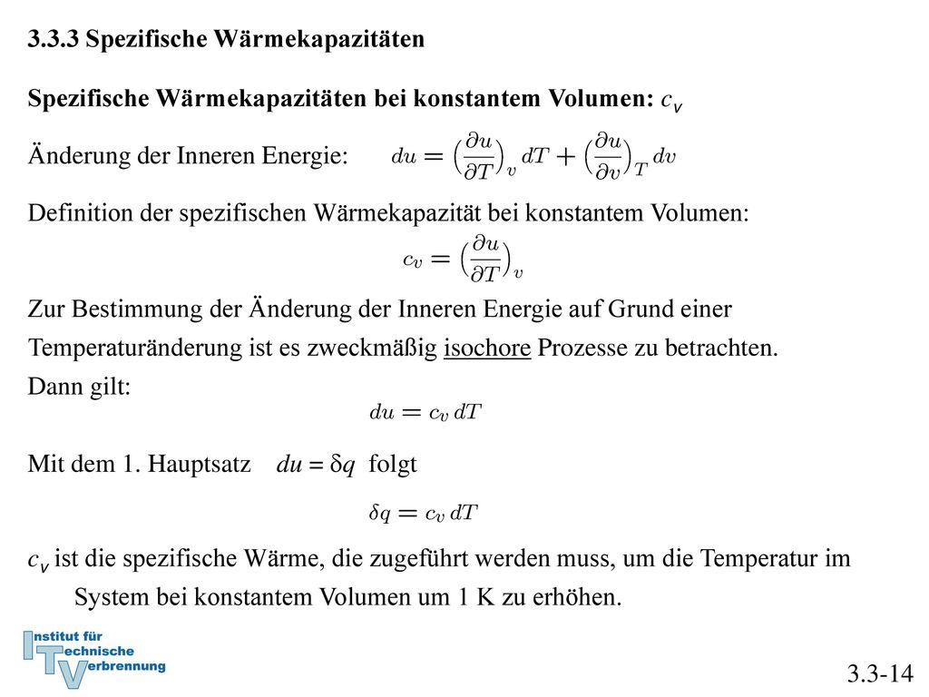 3.3.3 Spezifische Wärmekapazitäten