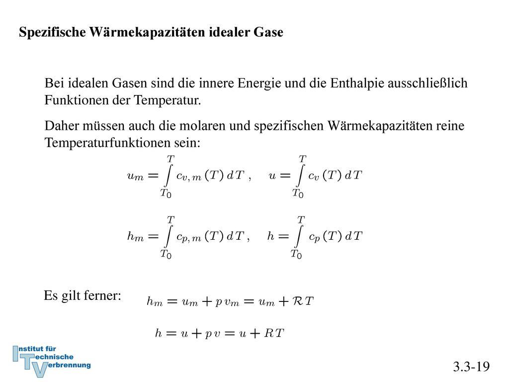 Spezifische Wärmekapazitäten idealer Gase