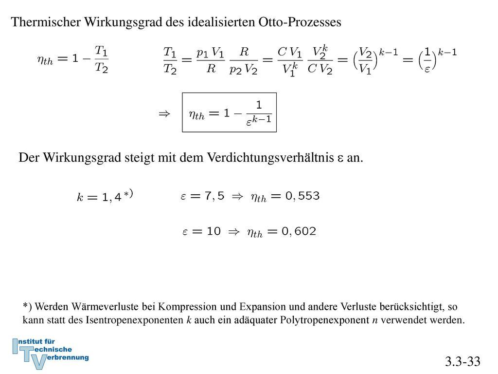 Thermischer Wirkungsgrad des idealisierten Otto-Prozesses