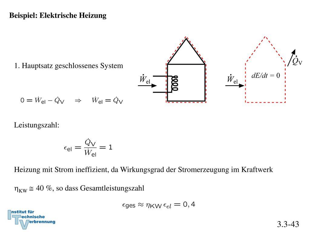 3.3-43 Beispiel: Elektrische Heizung 1. Hauptsatz geschlossenes System