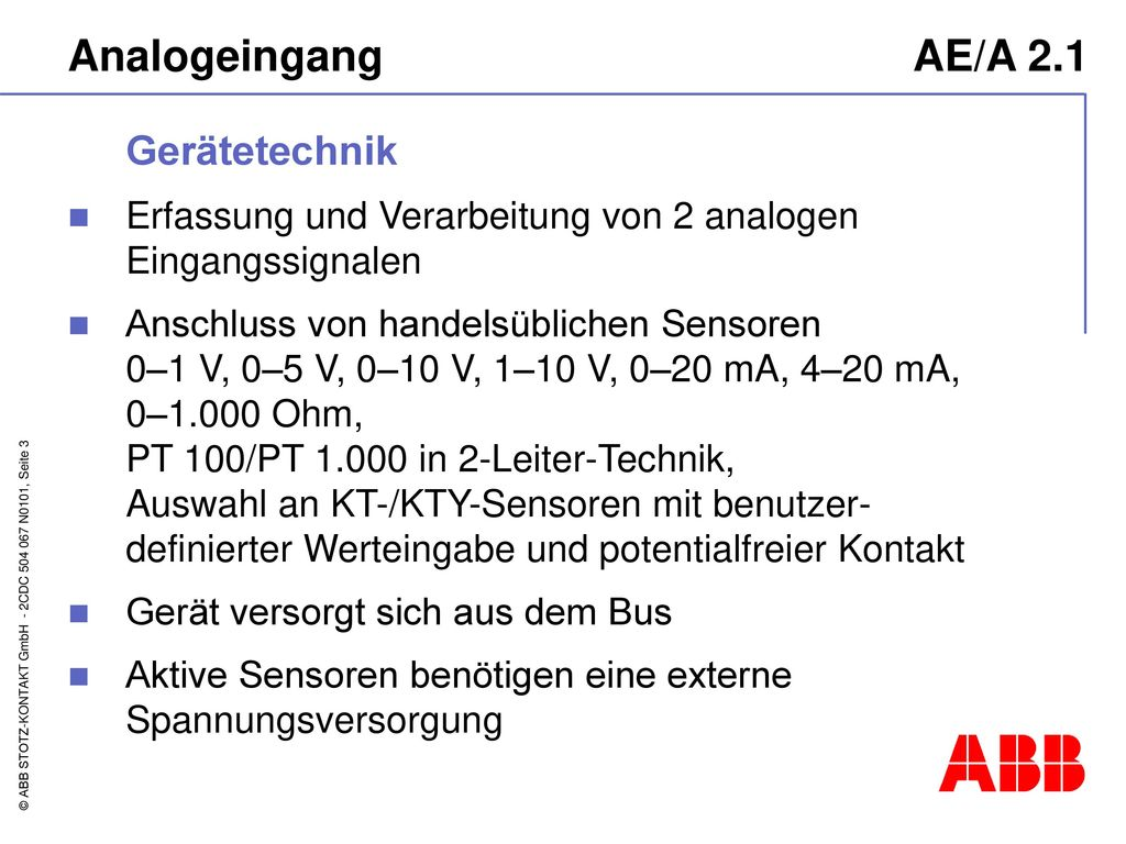 Analogeingang AE/A 2.1 Gerätetechnik