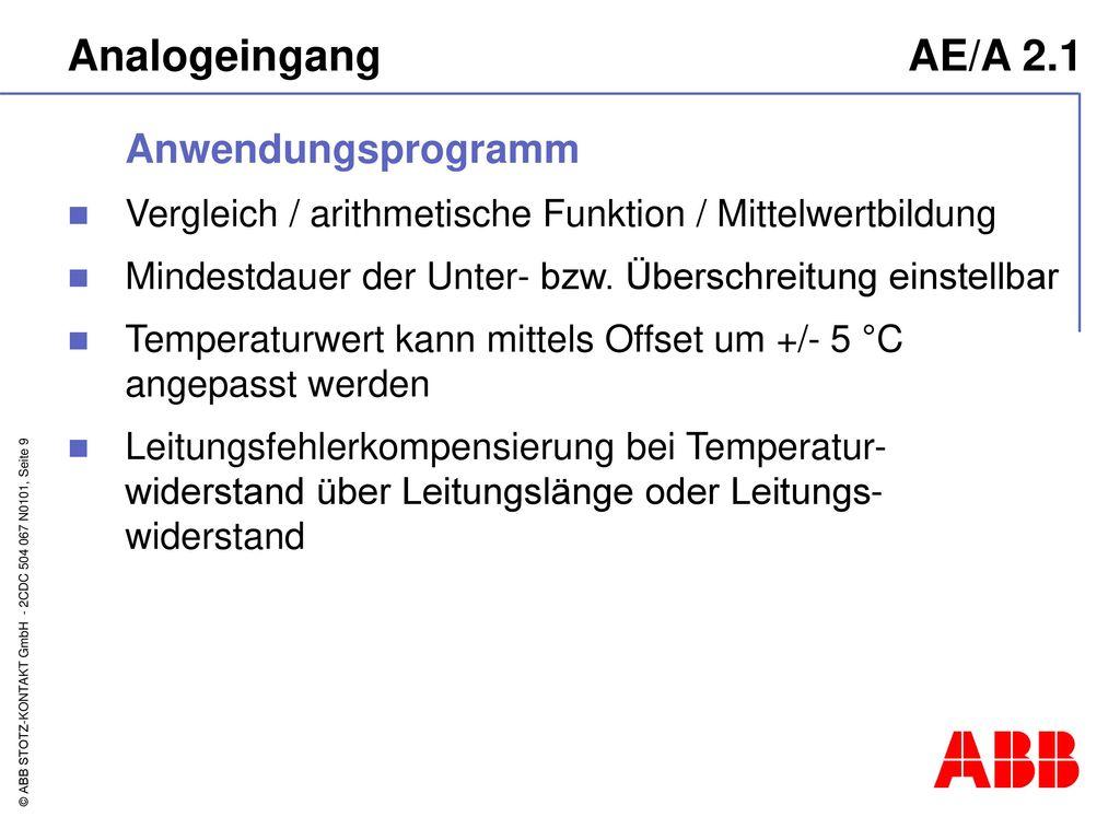 Analogeingang AE/A 2.1 Anwendungsprogramm