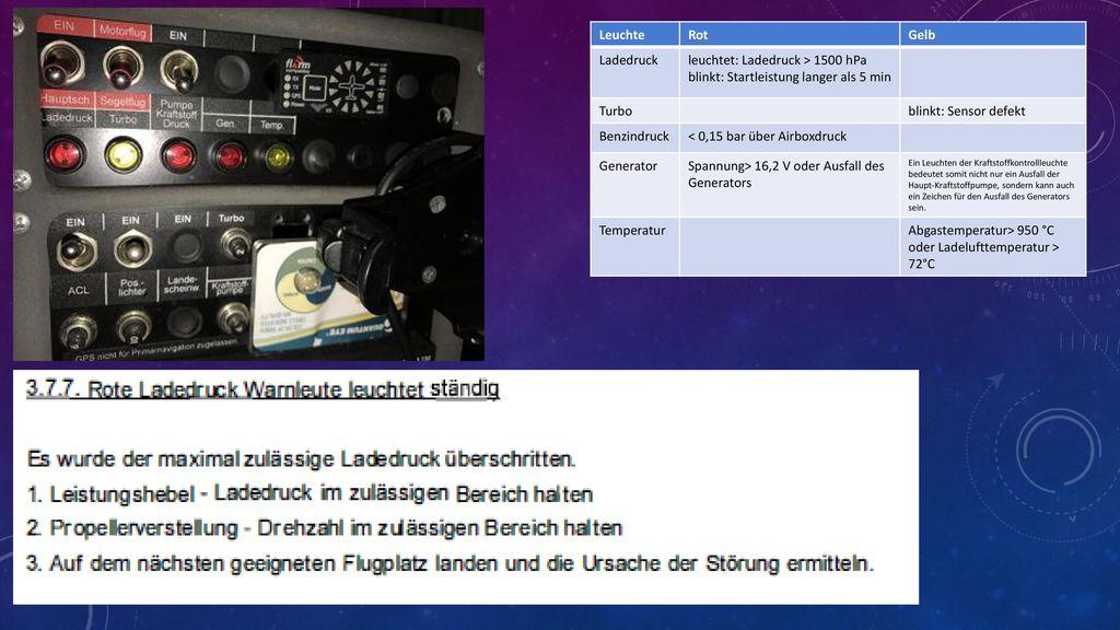 leuchtet: Ladedruck > 1500 hPa