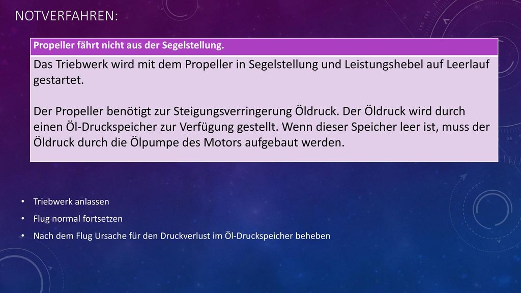 NOTVERFAHREN: Propeller fährt nicht aus der Segelstellung.