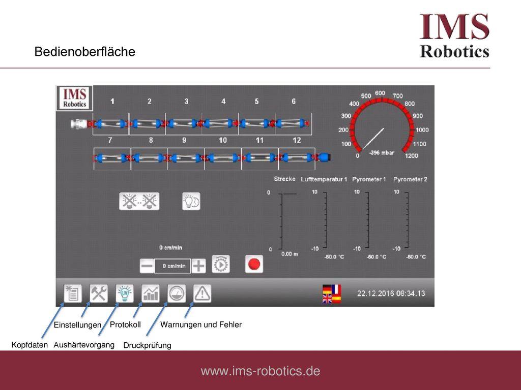 Bedienoberfläche www.ims-robotics.de Einstellungen Protokoll