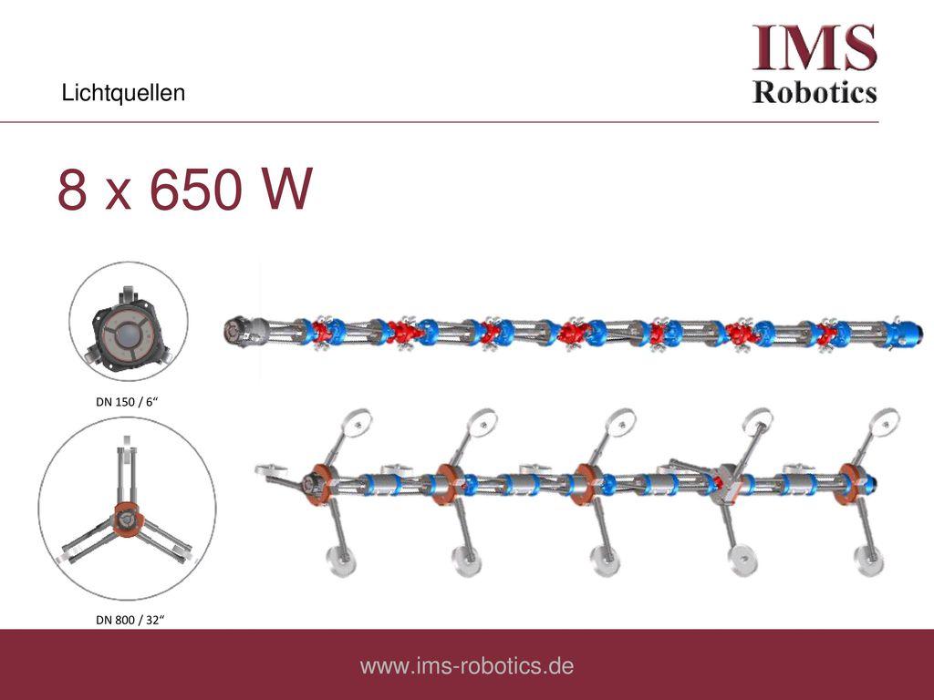Lichtquellen 8 x 650 W DN 150 / 6 DN 800 / 32 www.ims-robotics.de