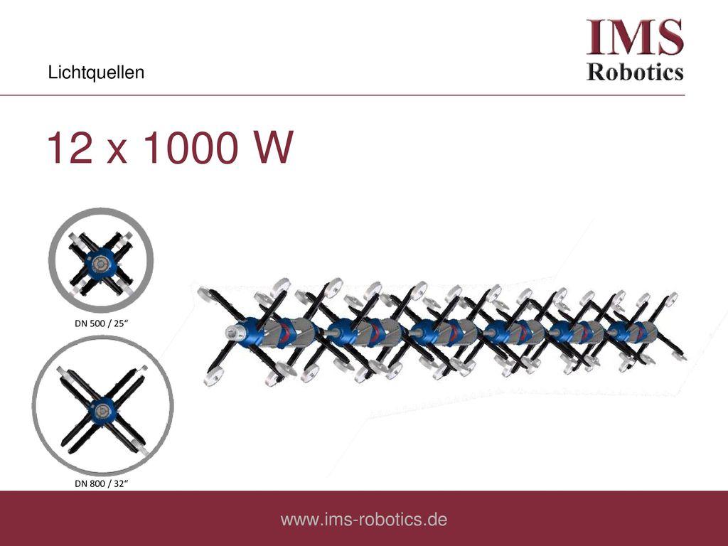 Lichtquellen 12 x 1000 W DN 500 / 25 DN 800 / 32 www.ims-robotics.de