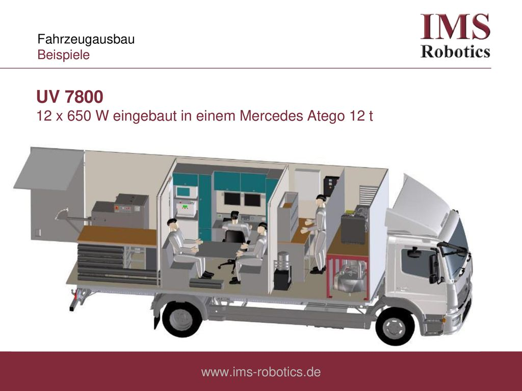 UV 7800 12 x 650 W eingebaut in einem Mercedes Atego 12 t