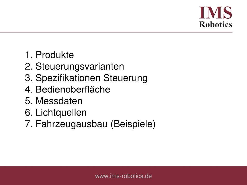 2. Steuerungsvarianten 3. Spezifikationen Steuerung