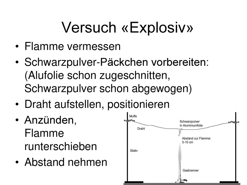 Versuch «Explosiv» Flamme vermessen