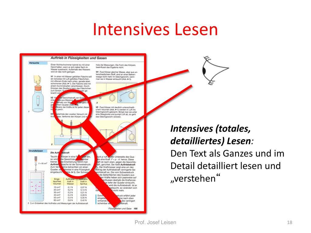 """Intensives Lesen Intensives (totales, detailliertes) Lesen: Den Text als Ganzes und im Detail detailliert lesen und """"verstehen"""