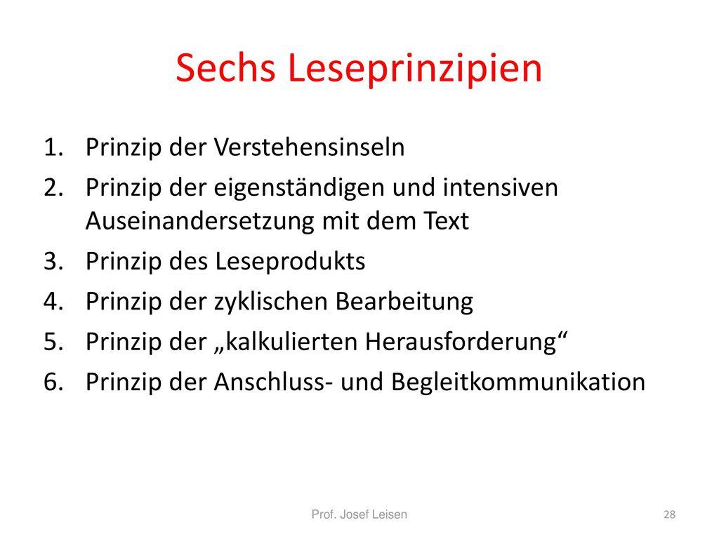 Sechs Leseprinzipien Prinzip der Verstehensinseln