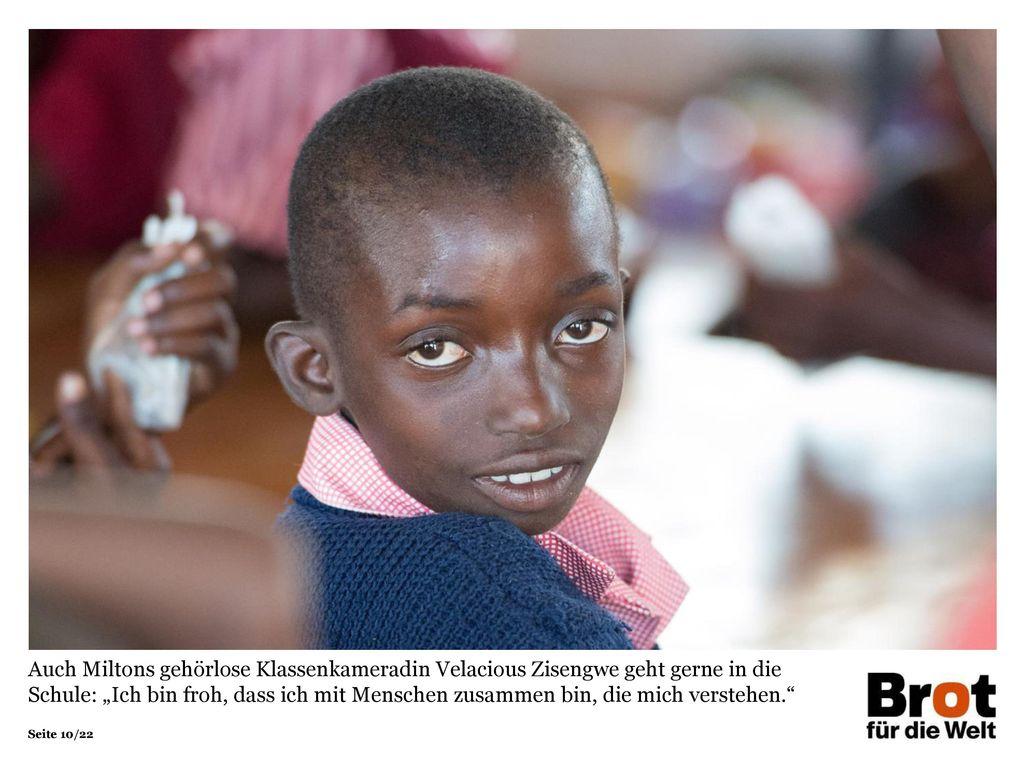 """Auch Miltons gehörlose Klassenkameradin Velacious Zisengwe geht gerne in die Schule: """"Ich bin froh, dass ich mit Menschen zusammen bin, die mich verstehen."""