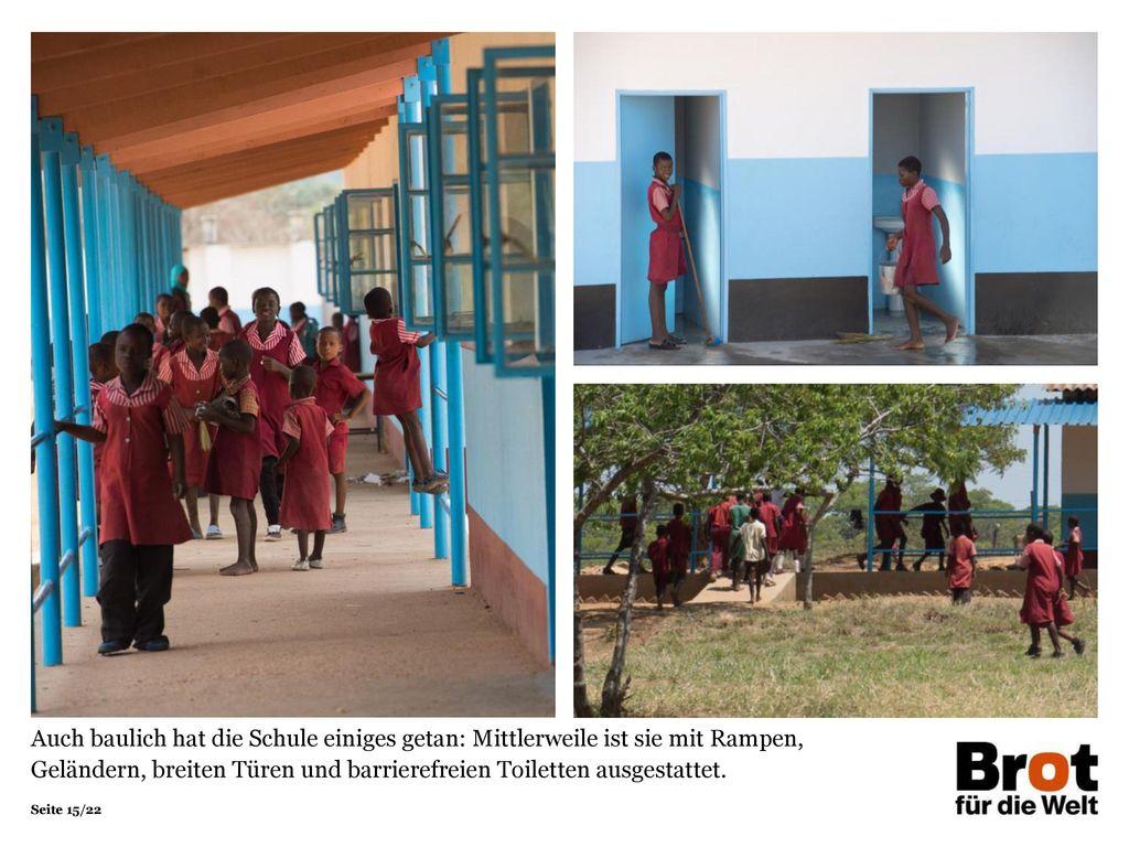 Auch baulich hat die Schule einiges getan: Mittlerweile ist sie mit Rampen, Geländern, breiten Türen und barrierefreien Toiletten ausgestattet.