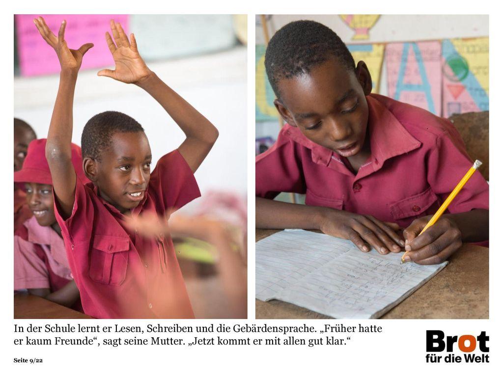 In der Schule lernt er Lesen, Schreiben und die Gebärdensprache