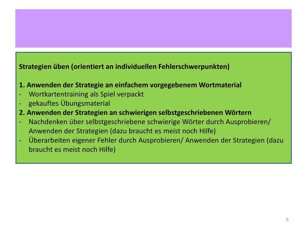 Strategien üben (orientiert an individuellen Fehlerschwerpunkten)