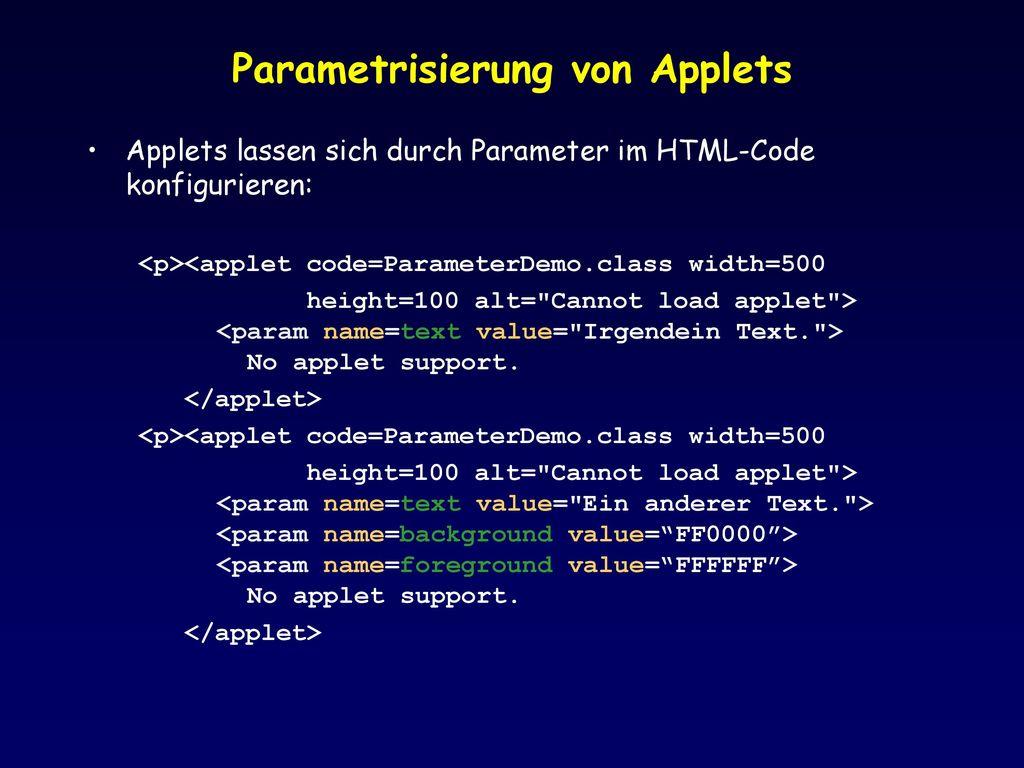 Parametrisierung von Applets