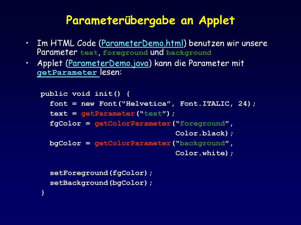 Parameterübergabe an Applet
