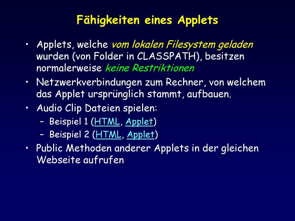 Fähigkeiten eines Applets