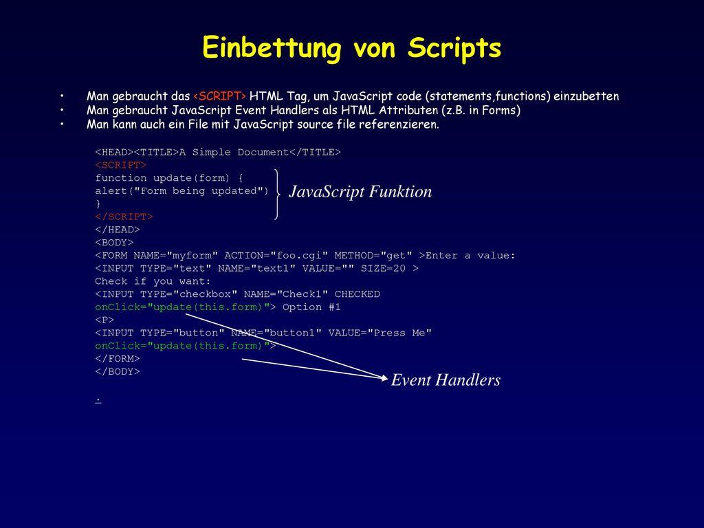 Einbettung von Scripts