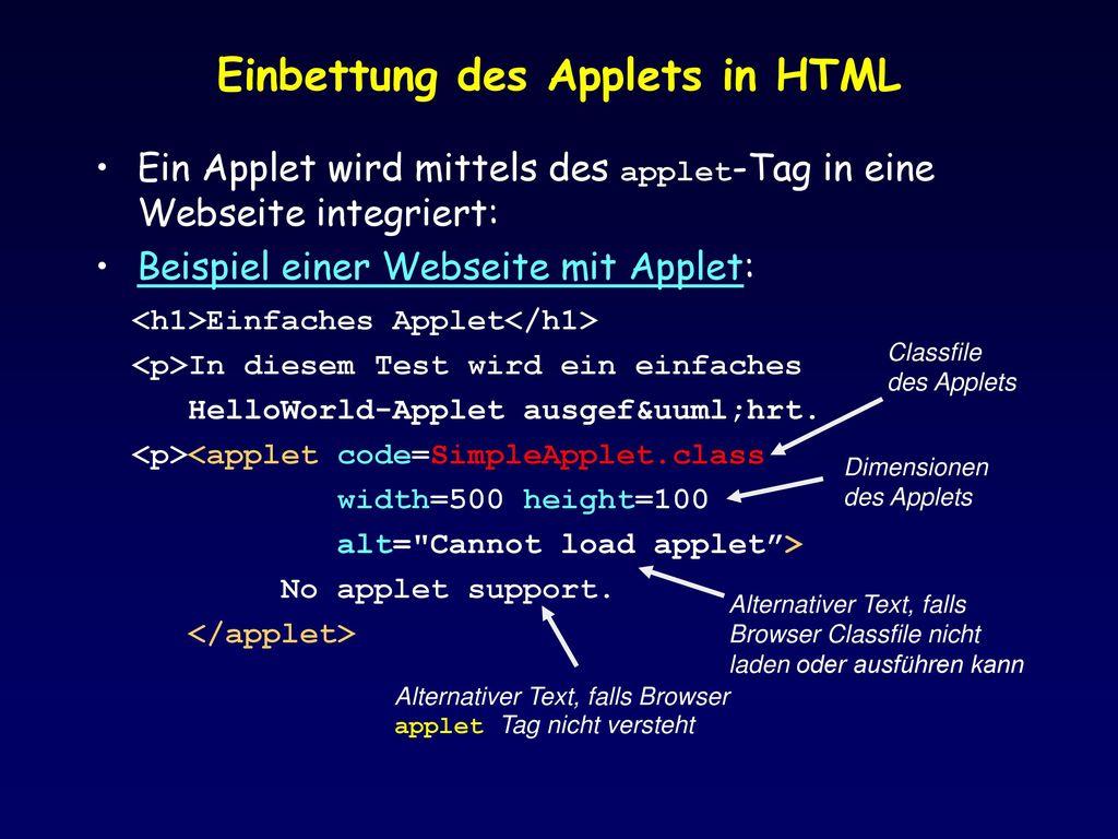 Einbettung des Applets in HTML