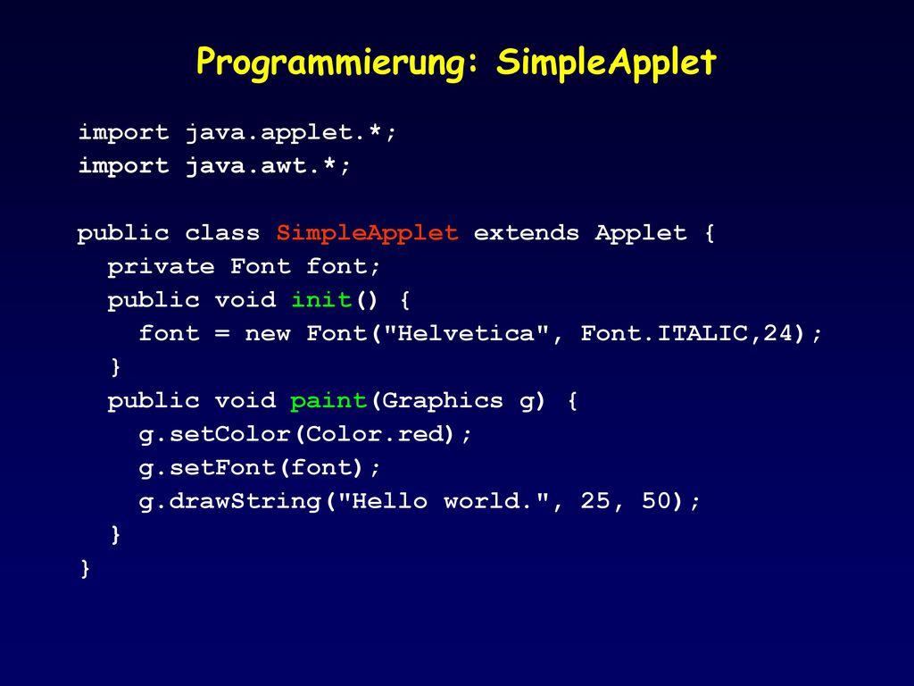 Programmierung: SimpleApplet