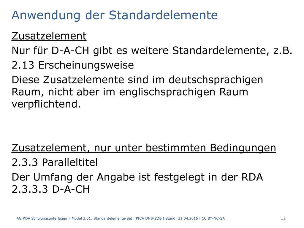 Anwendung der Standardelemente