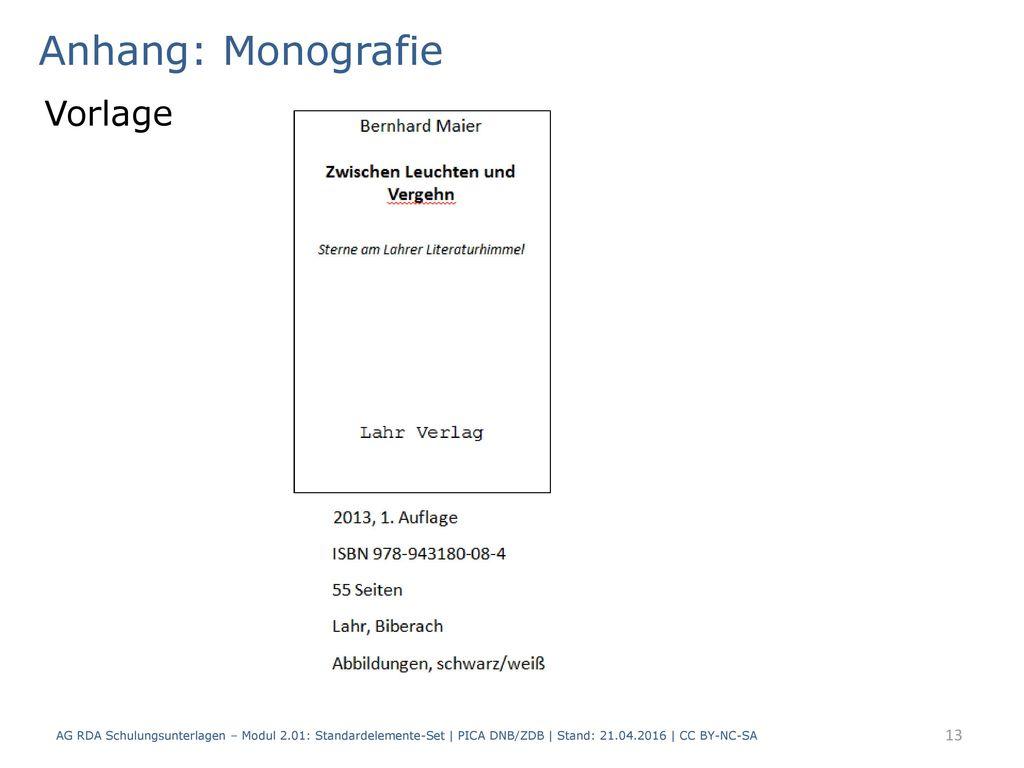 Anhang: Monografie Vorlage
