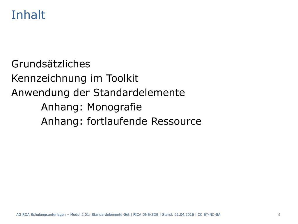Inhalt Grundsätzliches Kennzeichnung im Toolkit