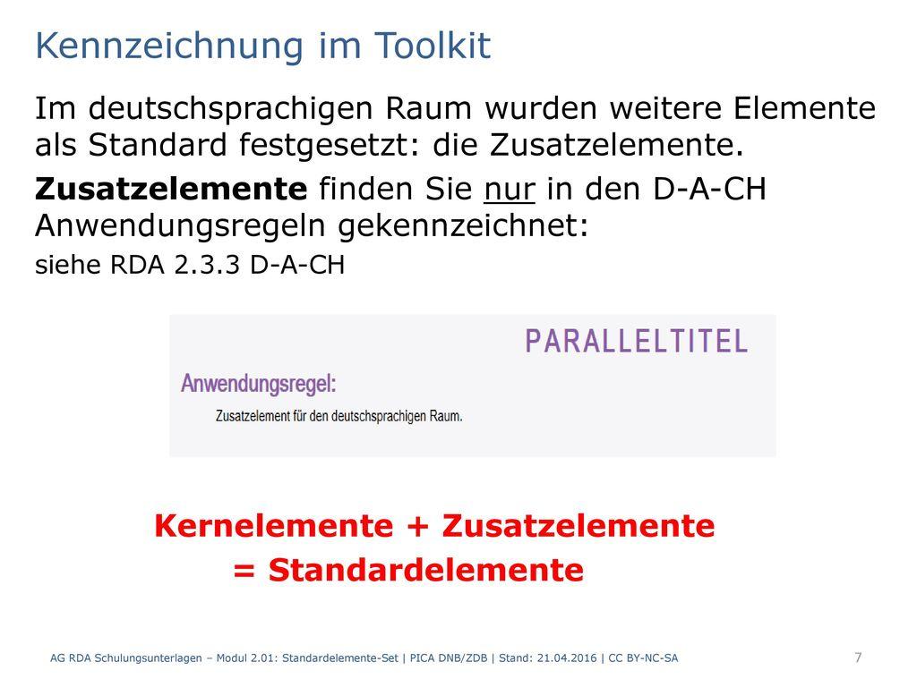 Kennzeichnung im Toolkit
