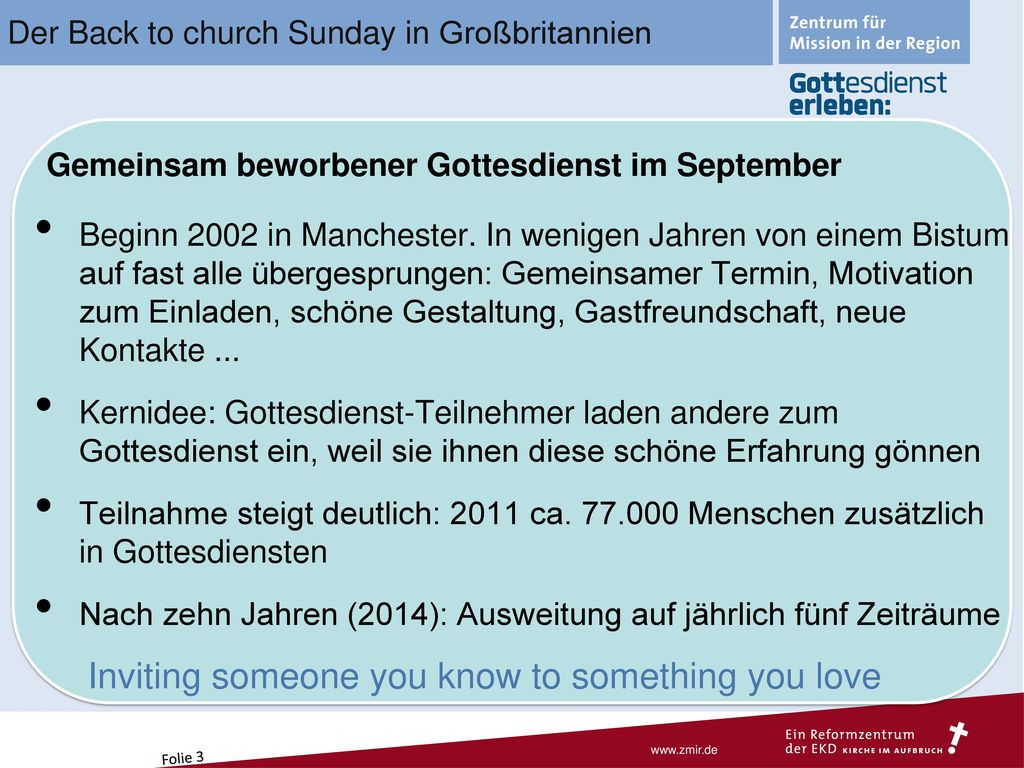 Der Back to church Sunday in Großbritannien