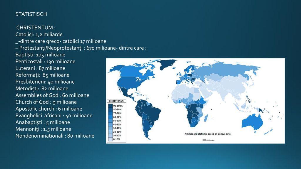STATISTISCH CHRISTENTUM : Catolici: 1,2 miliarde. _-dintre care greco- catolici 17 milioane.