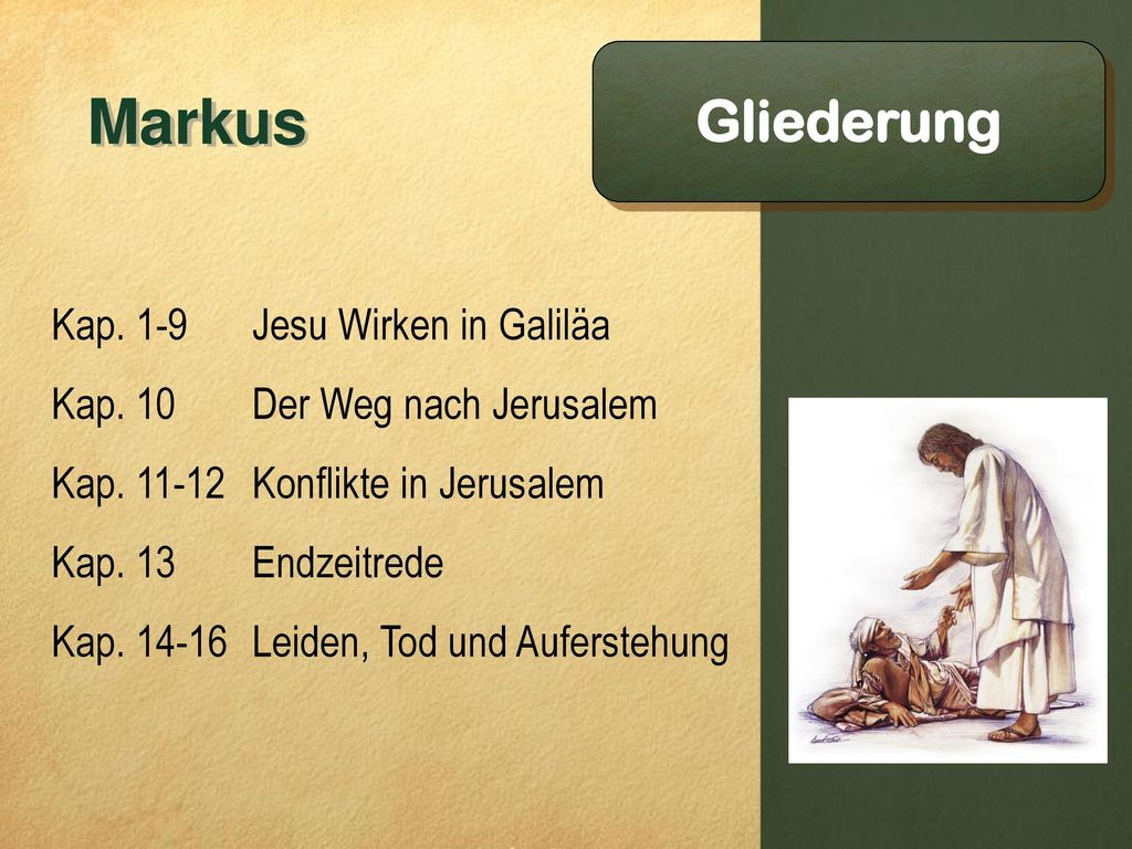 Markus Gliederung Kap. 1-9 Jesu Wirken in Galiläa