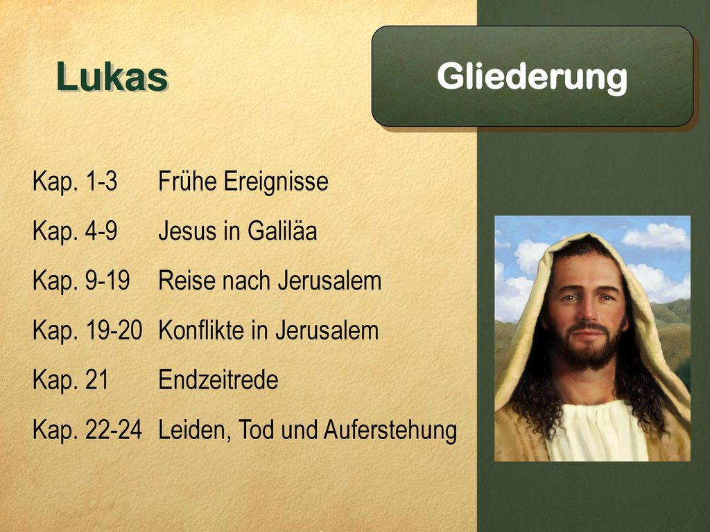 Lukas Gliederung Kap. 1-3 Frühe Ereignisse Kap. 4-9 Jesus in Galiläa
