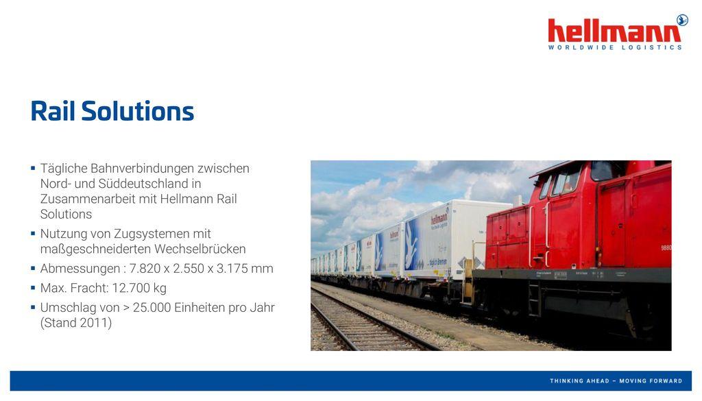 Rail Solutions Tägliche Bahnverbindungen zwischen Nord- und Süddeutschland in Zusammenarbeit mit Hellmann Rail Solutions.