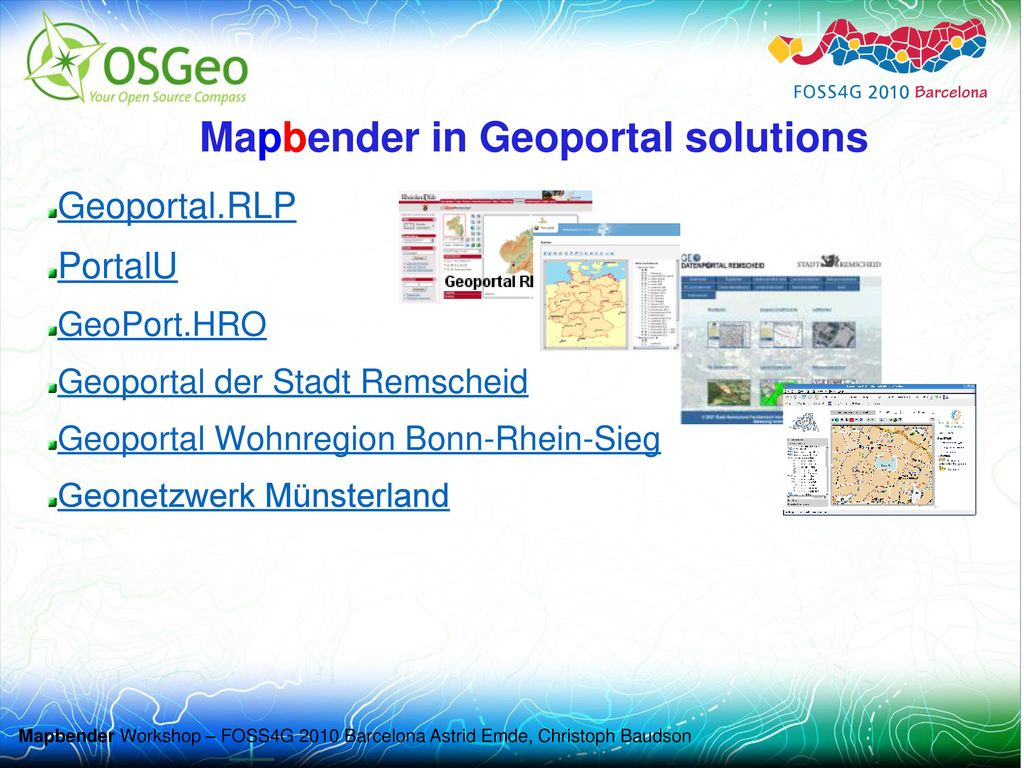 Mapbender in Geoportal solutions