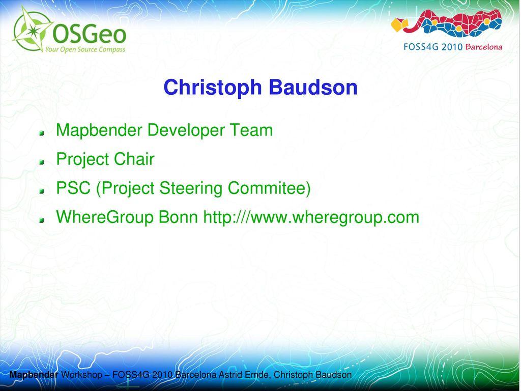 Christoph Baudson Mapbender Developer Team Project Chair