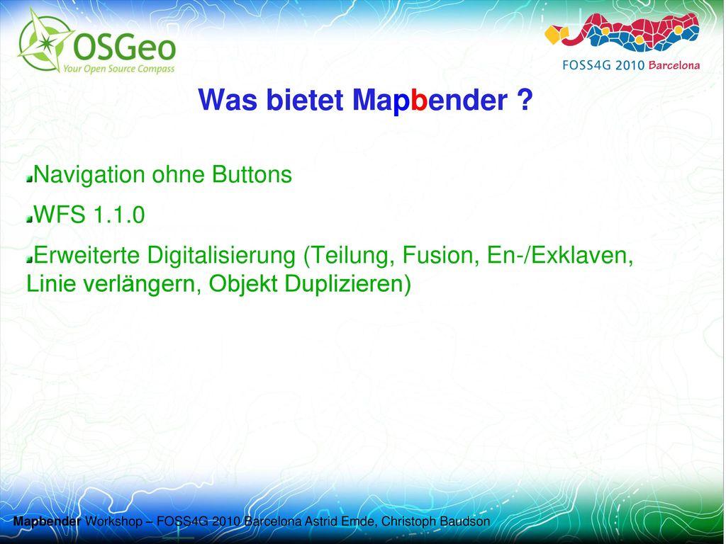 Was bietet Mapbender Navigation ohne Buttons WFS 1.1.0