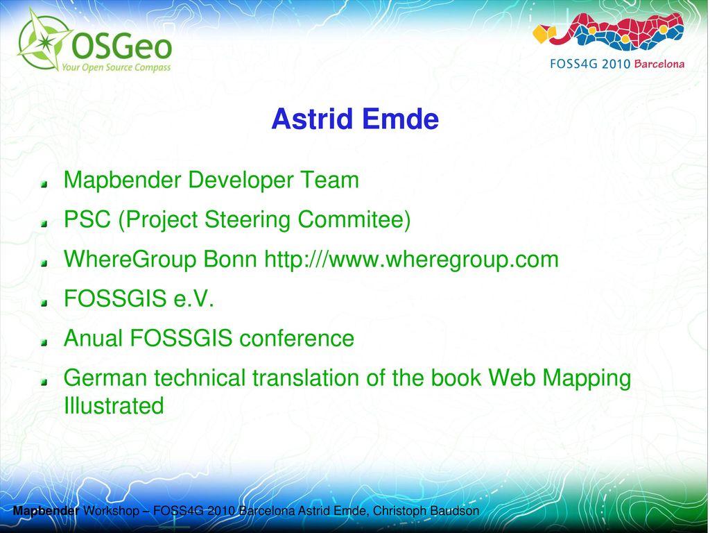Astrid Emde Mapbender Developer Team PSC (Project Steering Commitee)
