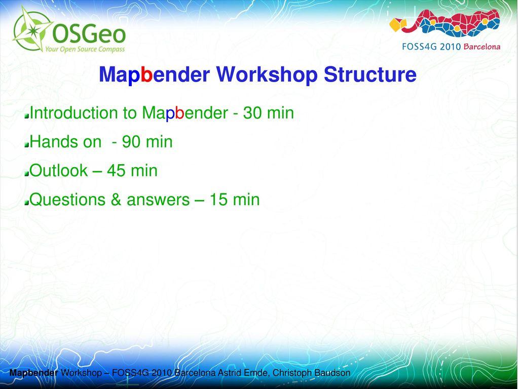 Mapbender Workshop Structure