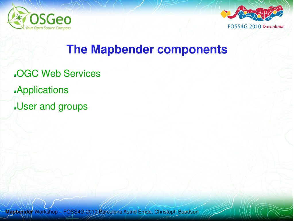 The Mapbender components