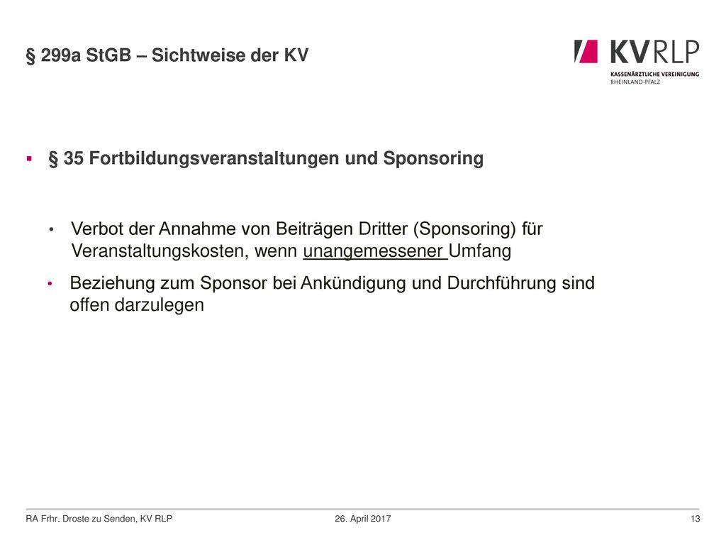 § 299a StGB – Sichtweise der KV