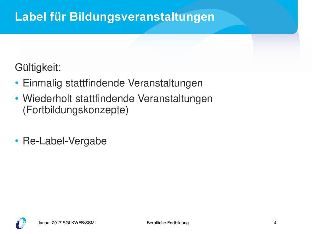 Label für Bildungsveranstaltungen