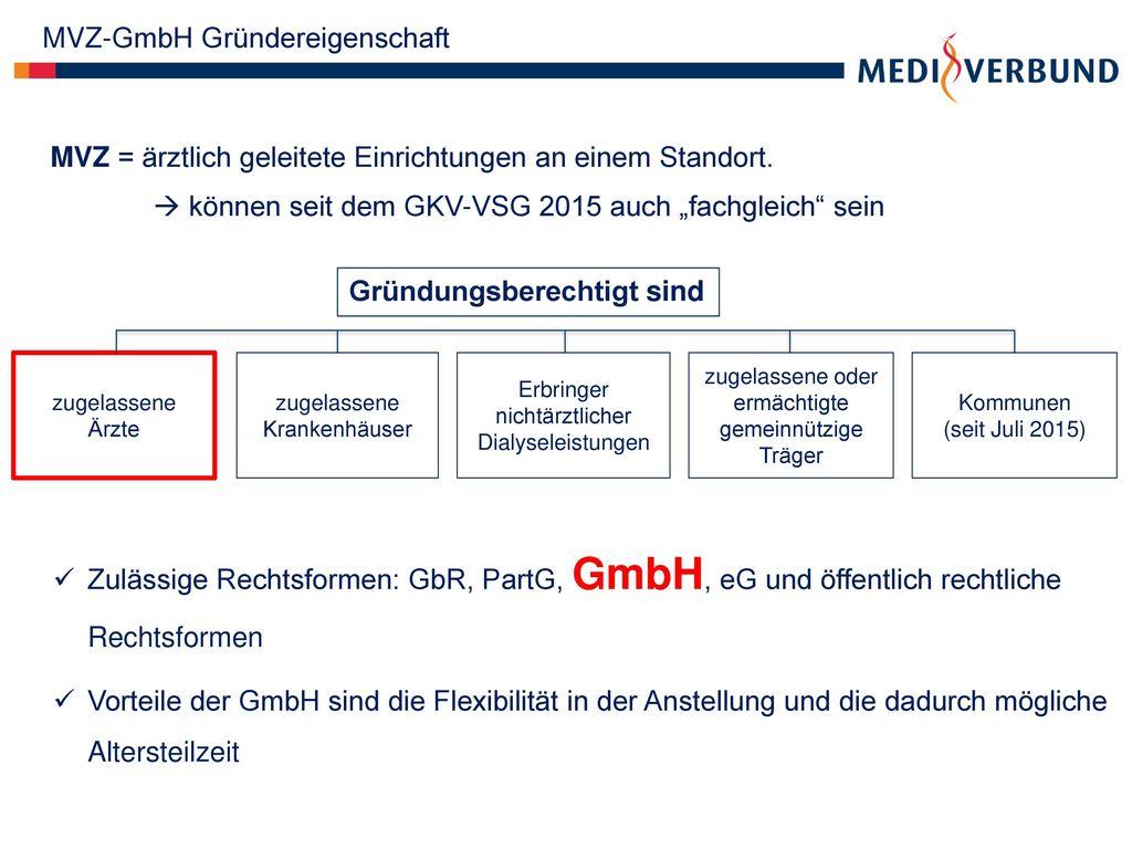 MVZ-GmbH Gründereigenschaft