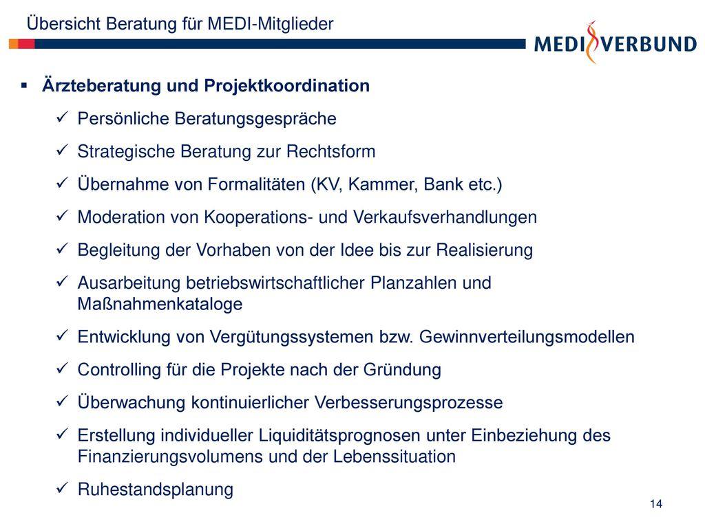 Übersicht Beratung für MEDI-Mitglieder